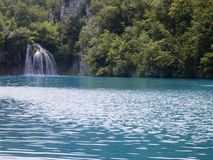 Colorful and vibrant landscape of lake shore. Tranquil landscape useful as background. Lower lakes canyon. Plitvice lakes national Stock Photography