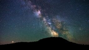 Free Colorful Vibrant Milkyway Galaxy With Stars And Space Dust In The Universe Above The Dark Hill Royalty Free Stock Image - 184702956