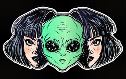 Alien from outer space face in disguise as a girl. Colorful vibrant portriat of an alien from outer space face in disguise as human girl. UFO sci-fi, tattoo art Royalty Free Stock Photography