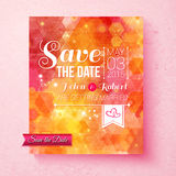 Colorful vibrant Save The Date wedding invitation Royalty Free Stock Images