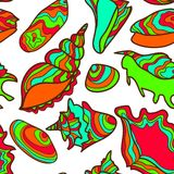 Colorful vibrant seamless seashell pattern Stock Photos