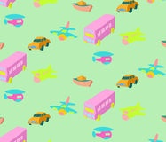 Colorful vichicle  pattern vector illustration. Hand drawn style colorful bus,airplane,boat and car vector pattern Stock Photography