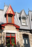 Colorful victorian houses in Montreal, Canada royalty free stock photo