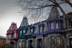 Colorful Victorian Houses in Square Saint Louis - Montreal, Quebec, Canada Royalty Free Stock Image