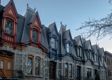 Colorful Victorian Houses in Square Saint Louis - Montreal, Quebec, Canada stock images