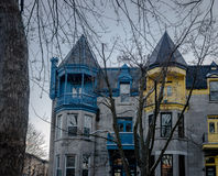 Colorful Victorian Houses in Square Saint Louis - Montreal, Quebec, Canada stock photos