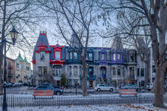 Colorful Victorian Houses in Square Saint Louis - Montreal, Quebec, Canada royalty free stock images