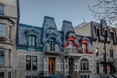 Colorful Victorian Houses in Square Saint Louis - Montreal, Quebec, Canada Royalty Free Stock Photo