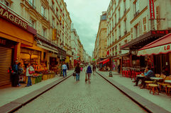 Colorful view of busy pedestrian street in Paris Royalty Free Stock Photography