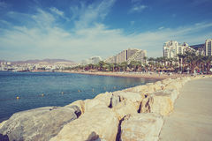 Colorful view on central public beach in Eilat, Israel Stock Photo