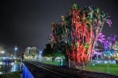 The waterfront of Tauranga, New Zealand, at night royalty free stock photos