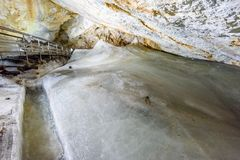 A colorful view of the ice cave in the glacier in slovakia. Underground stock photo