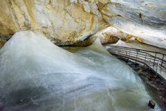 A colorful view of the ice cave in the glacier in slovakia. Underground stock image