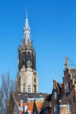 Colorful view with New Church tower in Delft, Holland Royalty Free Stock Image