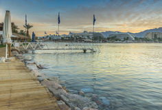 Colorful view on the northern beach of Eilat at dawn Royalty Free Stock Photography