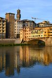 Colorful view of Ponte Vecchio and Palazzo Vecchio, Florence, Italy Stock Image