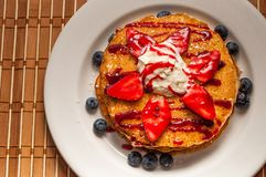 Delicious Pancake with Fruit Royalty Free Stock Images