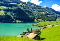 Colorful view of Thunersee Lake Thun in a beautiful summer day, Thun, Switzerland, Europe royalty free stock images