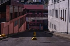 Colorful view of urban slums royalty free stock photo