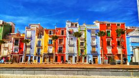 Colorful village. A colorful village full of wall-to-wall apartments in different colors Royalty Free Stock Photos