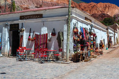 Colorful village and market of Purmamarca, Argentina Royalty Free Stock Photos