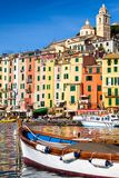 The colorful village of Portovenere, Italy. Detail of the Portovenere Palazzata, the colorful sequence of tall and narrow houses overlooking the sea.   Unesco Stock Photo