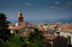 The colorful village of saint-Tropez with its characteristic church in france Stock Photography
