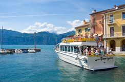 The colorful villages on the Garda Lake stock image