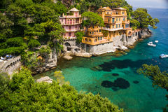 Colorful villas in the harbour. Portofino stock images