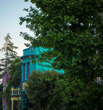 Colorful villas in Istanbul with trees Stock Photo