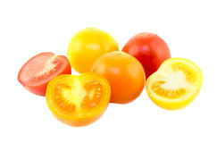 Colorful vine tomatoes. On white background Royalty Free Stock Photo