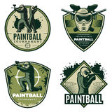 Colorful Vintage Active Leisure Emblems Set. With paintball mask rifles and competitive aiming players  vector illustration Royalty Free Stock Photos