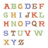 Colorful vintage alphabet on white background Royalty Free Stock Images