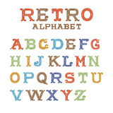 Colorful vintage alphabet on white background Royalty Free Stock Photo