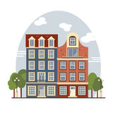 Colorful vintage Amsterdam houses. Apartments For Rent, Sale, Real Estate. European cityscape. Amsterdam houses. Cute buildings with street lamps and trees royalty free illustration