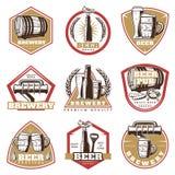 Colorful Vintage Beer Emblems Set royalty free illustration