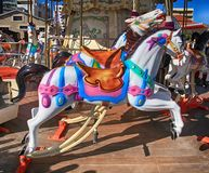Colorful vintage carousel with horses Stock Image