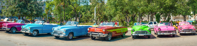 Colorful vintage cars parked in Old Havana Royalty Free Stock Image