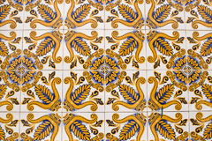 Colorful vintage ceramic tiles wall decoration. Stock Photo