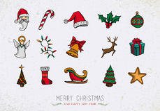 Colorful Vintage Christmas icons set Stock Photography