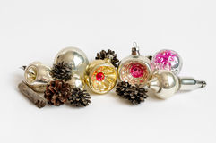Colorful Vintage Christmas ornaments with cones Stock Images