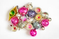 Colorful Vintage Christmas ornaments on white background Royalty Free Stock Images