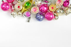 Colorful Vintage Christmas ornaments on white background Stock Images