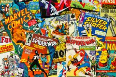 Colorful vintage comic magazine covers top view flat lay composition