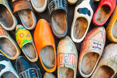 Colorful vintage Dutch wooden clogs stock images