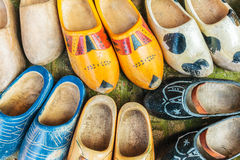 Colorful vintage Dutch wooden clogs Royalty Free Stock Images