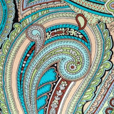 Colorful vintage fabric with blue and brown paisley print Stock Photo