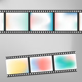 Colorful vintage film or camera strip on gray background with shadow.  Stock Photo