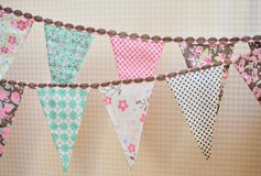 Colorful vintage flags. Party, baby room and wedding decor elements with various modern pattern