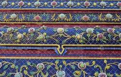 Colorful vintage flower ceramic tile decoration at buddhist temp Stock Image